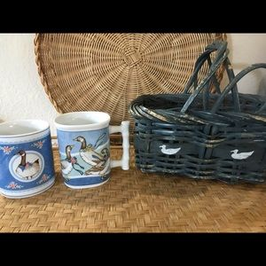 Duck and Goose Vintage Mug and Basket Gift Set